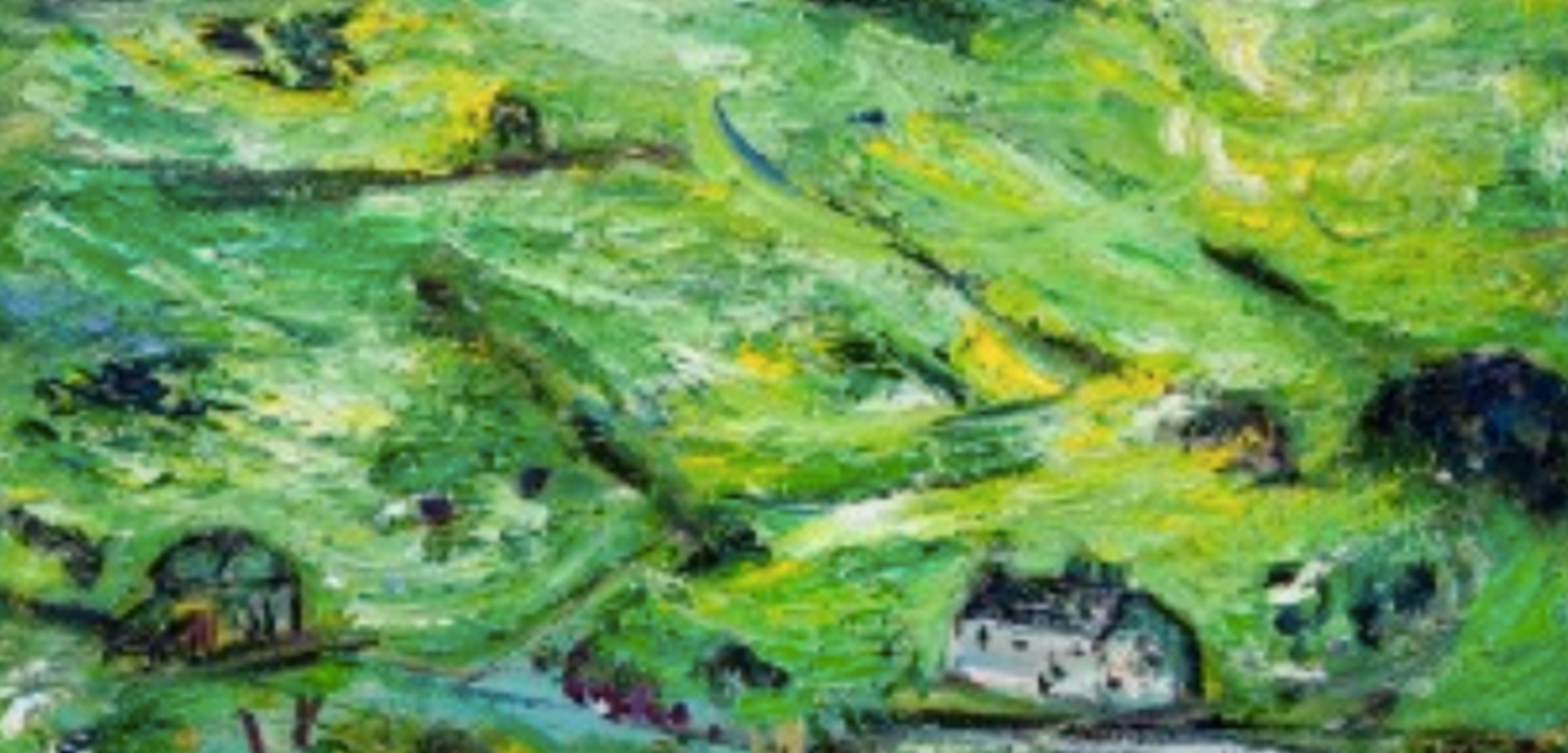 Painting of green field and houses by Kitty North